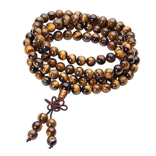 Buddha Beads Reaer Reiki curativo Pulsera con cuentas natural Tigre ojo piedra 108 perlas Pulsera Collar Yoga Buda Pulseras Joyería ( Main Stone Color : Tiger Eye Stone , Metal Color : 8MM Beads )