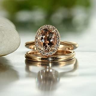 Balance-VS Diamond 9x7 Oval Morganite In 14K Rose Gold Halo Engagement Ring and 14K White Gold Wedding Band Bridal Set