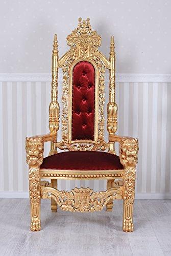 Kingchair Gold rot Sessel Gigant 180cm Thron Schloss Dracula Löwenthron MAR091 Palazzo Exklusiv