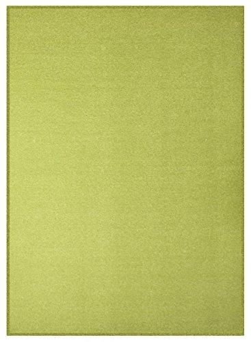 havatex Velours Teppich Trend - schadstoffgeprüft und pflegeleicht | schmutzabweisend robust strapazierfähig | Wohnzimmer Schlafzimmer, Farbe:Grün, Größe:100 x 150 cm
