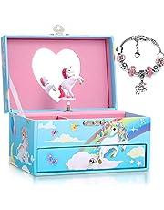 Yeshone Joyero Musical de Unicornio, Caja de Música Azul y Pulsera de Unicornio Rosa para Cumpleaños Navidad