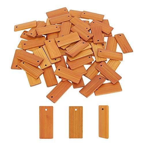 PandaHall 60pcs Pendentifs en Bois Vierges, Étiquettes-Cadeaux en Bambou Rectangle Non Teint Étiquettes de Nom Accrocher des étiquettes pour Porte-clés Bouteille de Vin Artisanat Décoration