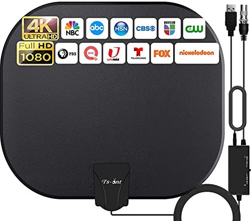 2021 Antenne TV Intérieur Puissante,320KM Gamme Antenne TV avec Amplificateur Smart Signal Booster,Antenne Soutien 1080P 4K Smart TV and Toute Vieille TV,Antenne TNT DVB-T/DTMB,5 Mètres Câble Coaxial