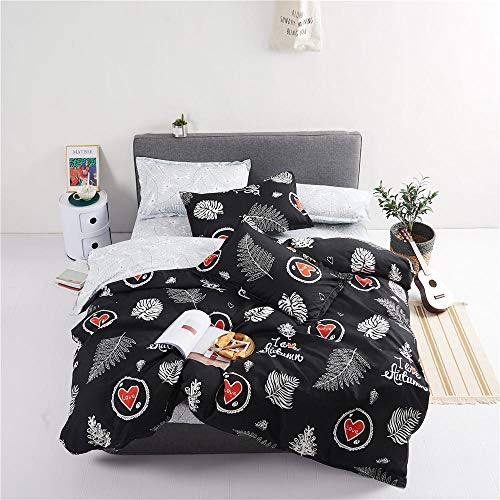 JNBGYAPS 3D Effect Printed duvet cover Leaves and red heart Bedding set with Pillocases (with Zipper Closure) Soft Microfiber Quilt Cover Single 135X200cm