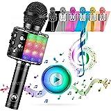 ATLAS. Microfono Karaoke, Wireless Bluetooth USB LED Flash Microfono Portatile per promozione regalo Altoparlante wireless per feste famiglia, Anche per far giocare i bambini, microfono bambini.(NERO)