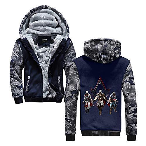 HOOMOLO Assassin's Creed Pullover Mantel mit Kapuze Herren-Oberbekleidung beiläufige Halten Gedruckt im Winter warm Zipper-Jacke Unisex (Color : Blue03, Size : XXL)