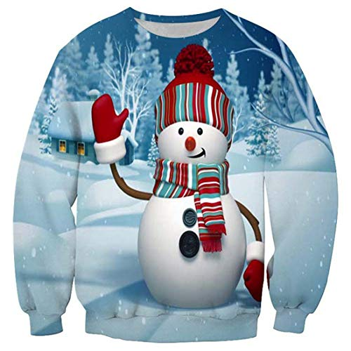 CAZOY Sweatshirt Mens Christmas Xmas 3D Funky Ugly Print Jumper Cardigan Pullover Sweater Men's Long Sleeve Round Neck Loose Fit Cotton Linen Tops T-Shirt Tees Shirts Party Blouse Autumn Winter