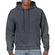 Gildan Men's Fleece Hooded Sweatshirt, Style G18500, Dark Heather, Small