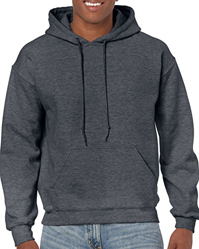 Gildan Men's Heavy Blend Fleece Hooded Sweatshirt G18500, Dark Heather, 2X-Large