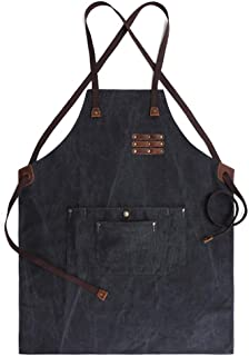 Oil Waxed Canvas Denim Apron with Adjustable Neck and Waist Strap Waterproof Comfortably Fit Tough Tool Aprons (black)