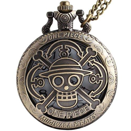 VIGOROSO One Piece Anime Vintage Antique Bronze Steampunk Quartz Pocket Watch Necklace Pendant in Box