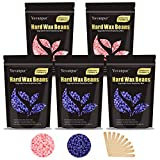 Hard Wax Beans for Painless Hair Removal , Our Strongest Blue Wax Beads for Bikini Brazilian, Underarms, Back and Chest, Hair Removal Waxing Spatulas (3Lavander-2Rose)