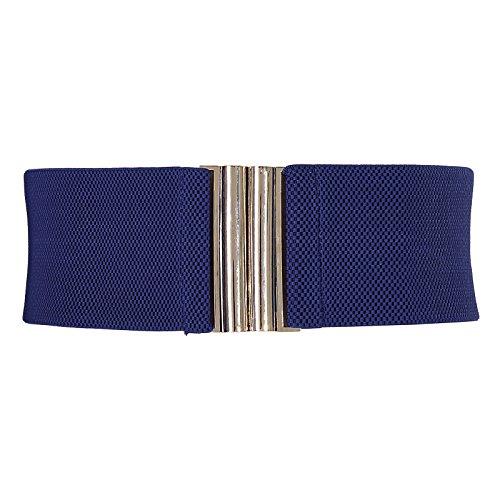 GRACE KARIN Navy Blue Women Wide Metal Elastic Cinch Stretch Belt for Dresses M CL409-8