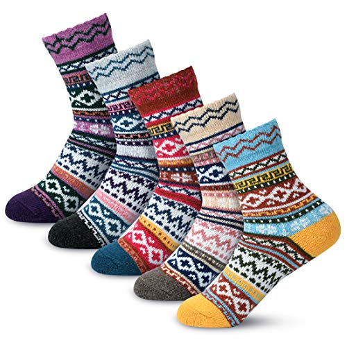 Women Winter Socks Women Wool Socks Warm Thick Soft Socks Christmas Gift Socks for Women Cozy Crew Socks-5packs (mix-color 8)