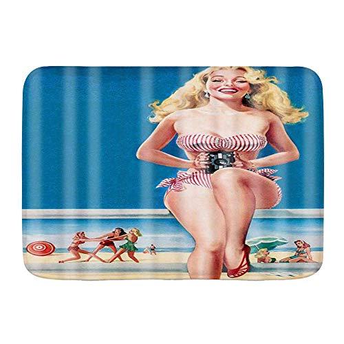 WH-CLA Tapis Sexy Bikini Girl Smile Blue Beach Background and Sits Gracieusement Tapis De Sol Tapis De Sol pour La Maison Cuisine Décorative Bienvenue Antidérapant Durable Funnny Absorpt