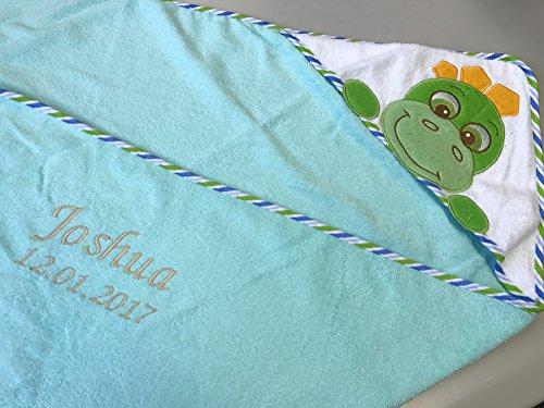 Handdoek met capuchon geborduurd met naam en geboortedatum / 100x100 cm/knuffelzacht / 1A kwaliteit Turquoise - DINO