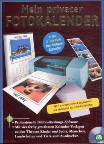 Mein privater Fotokalender, 1 CD-ROM m. 13 vorperforierten Fotopapieren und Materialien für 1 DIN-A4-Kalender Professionelle Bildbearbeitungs-Software für Windows 95/98. Mit vier fertig gestalteten Kalender-Vorlagen zu den Themen Kinder und Sport, Menschen, Landschaften und Tiere zum Ausdrucken