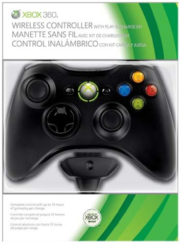Xbox 360 - Wireless Controller + Play & Charge Kit Bundle black