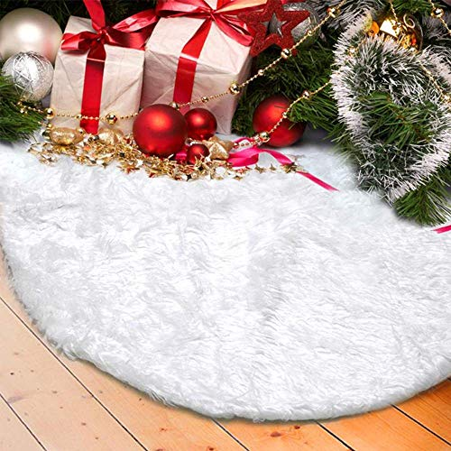 wide smile Snow Christmas Tree Skirt Mat White Faux Fur Snowy Quilted Xmas Tree Skirt Base Cover Christmas Decoration Pet Favors (150cm)