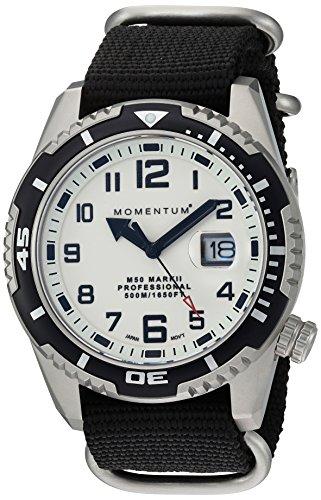Momentum Men's M50 Mark II Stainless Steel Japanese-Quartz Diving Watch with Nylon Strap, Black, 22 (Model: 1M-DV52L7B)