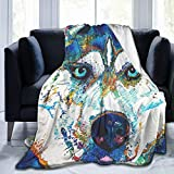 TAHALO Flannel Blanket,Colorful Husky Throw Luxury Blankets-Fuzzy Blankets Air Conditioning Blanket All Season for Couch Bed Adults