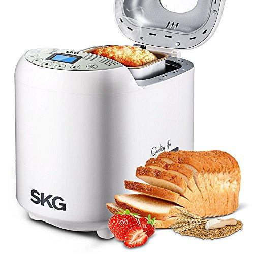 Machine à pain automatique SKG 2LB – Machine à pain programmable pour débutant (19 programmes, 3 tailles de pain, 3 couleurs de croûte, 15 heures de retard, 1 heure de garder au chaud) – Machine à pain de blé entier sans gluten