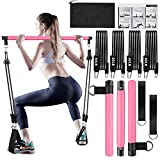 Pilates Bar Kit with Resistance Bands(30lbs,40lbs,50lbs - 3 Resistance Weights Options),3-Section...