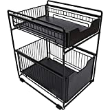 TristonSong Stackable 2-Tie Under Sink Cabinets Organizer with Sliding Storage Drawer, Pull Out Cabinets Organizer Shelf, Sliding Kitchen Countertop Storage Basket-Black Large