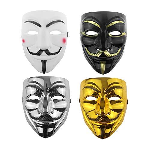 Udekit Hacker Mask V para Vendetta Mask para niños, Mujeres, Hombres, Disfraz de Halloween, Cosplay (Cuatro Pieza)