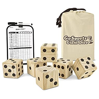 GoSports Giant 3.5  Wooden Playing Dice Set with Bonus Rollzee Scoreboard (Includes 6 Dice, Dry-Erase Scoreboard and Canvas Carrying Bag)