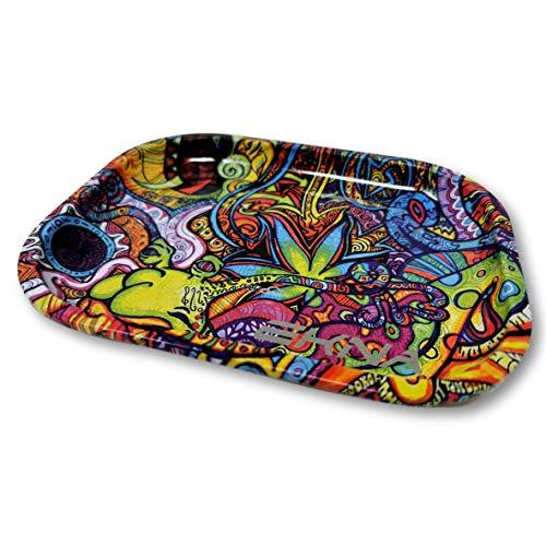 EKNA Bandeja para liar, 18 x 14 x 1,6 cm, bandeja de mezcla, bandeja de metal, pequeña, (colorfull art)