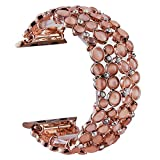 VIQIV Bling Bands for Compatible with Apple Watch 38mm 40mm 42mm 44mm Iwatch Series 5/4/3/2/1, Dressy Diamond Rhinestone Bracelet Metal Jewelry Wristband Strap for Women Rose Gold