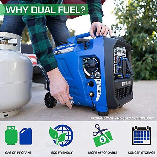 DuroMax XP2300iH 2300-Watt 80cc Dual Fuel Digital Inverter Hybrid Portable Generator, Blue