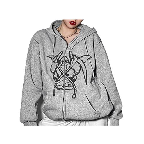 Sudadera con capucha con capucha y estampado de cabeza para mujer de manga larga con cremallera y capucha Y2K para mujer con bolsillos, Gris, M