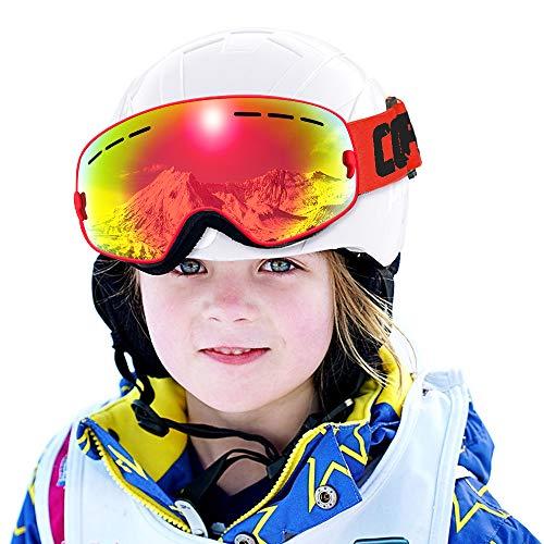 COPOZZ Kids Ski Goggles, G3 Kids Snow Snowboard Goggles - Helmet Compatible Over Glasses OTG Design Non-Slip Strap UV Protection for Children Youth Boys Girls (Red-red (VLT 20.5%))