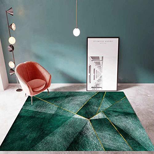 DLSM Moderno y de Moda Verde Esmeralda línea Dorada segmentación Alfombra geométrica Pasillo baño Cocina Oficina sofá Sala de Estar Dormitorio Alfombra Decorativa-Los 40x60cm