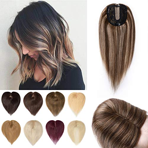 S-noilite 14Inch Clip in Human Hair Toppers Blonde Silk Base Crown Top Hairpieces 120% Density Hand Made Lace Mesh Long Hair Toupee For Women with Thinning Hair 45g #4/27 Medium Brown/Dark Blonde