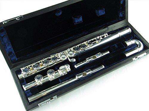 Symfonie Westerwald Kinderdwarsfluit/dwarsfluit/fluit met gebogen kop, echt verzilverd, incl. luxe harde schaal koffer en accessoires, nieuw