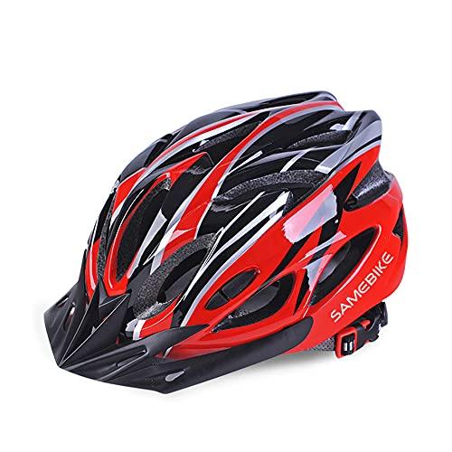 SAMEBIKE Casco da Bici 57-61CM con Visiera Staccabile, Casco da Bici Elettrica da Montagna Caschi da Bicicletta Leggeri da Ciclismo Cinturino Regolabile per Uomo Adulto Donna (Nero + Rosso)