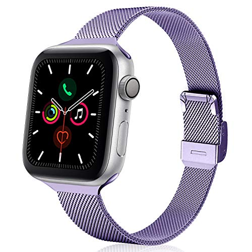 TRA Metal Slim Band Compatible for Apple Watch Band 38mm 40mm 42mm 44mm, Stainless Steel Mesh Adjustable Replacement Thin Strap Wristband for iWatch Series 5/4/3/2/1 Women & Men (Lavender, 42mm/44mm)