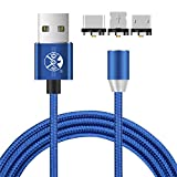 UGI Magnetic Charger Cable 3 in 1 Cable Micro USB Type C USB C 6.6ft Nylon Braided LED Light Magnetic Phone Charging Cord Compatible with Android/i-Product,All Phone Devices