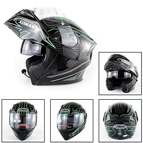 AMZ BCS Motocicleta Bluetooth Casco Certificación D.O.T Cara Completa Bluetooth Racing Moto...