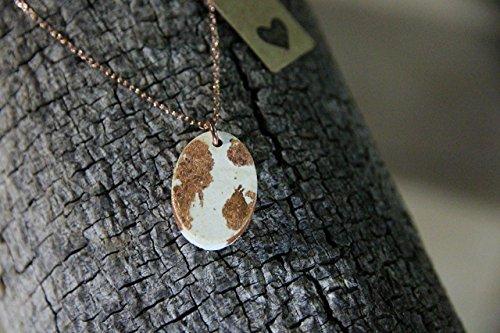 "Ellipse  Oval Shape Pendant Concrete Cement Handmade Designer Jewelry 18"" Necklace Gift Copper Leaf White Cream Modern 2017 2018"