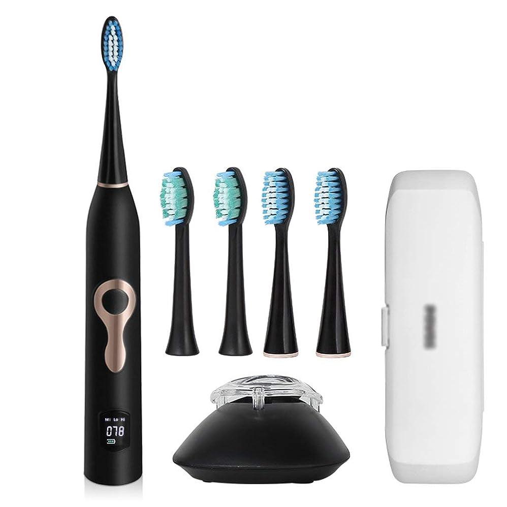 タクトカストディアンおもちゃ自動電動歯ブラシカップルモデル充電式ソフトヘア防水超音波ポータブル歯ブラシ(カラー:ブラック)