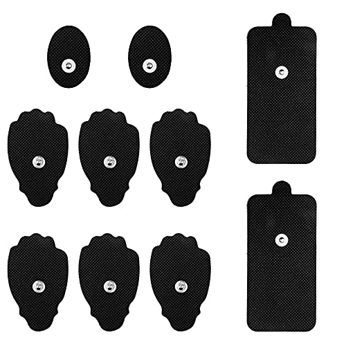 VICSAINTECK TENS/EMS Unit Pads Electrodes, 10pc Compatible Replacement Pads Snap on Reusable Electrodes Patches for Muscle Stimulator Pain Relief Therapy, Fit Premium Small Medium and Large Pads