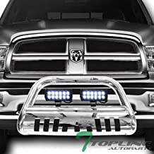 Topline Autopart Polished Stainless Steel Bull Bar Brush Push Bumper Grill Grille Guard With Skid Plate + 36W CREE LED Fog Lights For 09-18 Dodge Ram 1500/2019 Classic