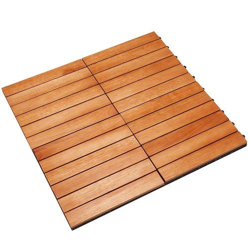 CASARIA Piastrelle in legno di eucalipto 11pz di eucalipto Certificato FSC Mattonelle 1m² sistema ad incastro 30x30cm giardino terrazza balcone piscina sauna pavimentazione