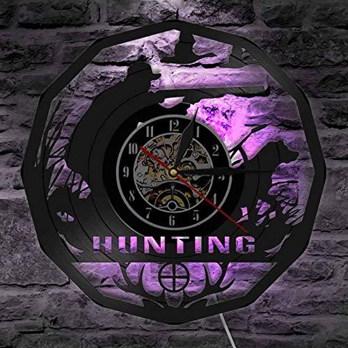 Ydshyth The Hunting Reloj De Pared con Registro De Vinilo Reloj De Pared LED Reloj De Cuarzo De 12, Lámpara De Noche Colgante Creativa Reloj De Pared Luminoso De 7 Colores