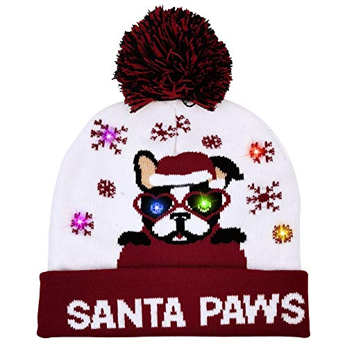 OurWarm Light Up Christmas Hat LED Christmas Beanie with 6 Colorful Lights, Cute Santa Paws Cartoon Dog Xmas Knitted Hat for Adults and Kids New Year and Xmas Supplies Red