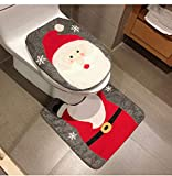 HESHIFENG. party & accessories Christmas Snowman Santa Deer Toilet Seat Cover and Rug Set Red Christmas Decorations Bathroom (Santa Claus)